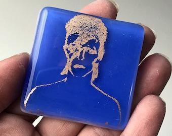 David Bowie Glass Magnet, Bowie Magnet, Blue Glass Refrigerator Magnet, Bronze Printed Magnet