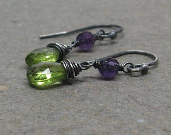 Peridot, Amethyst Earrings Oxidized Sterling Silver August February Birthstone Earrings