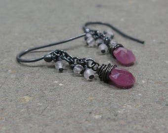 Pink Sapphire Earrings Rose Quartz Cluster September Birthstone Oxidized Sterling Silver Earrings Gift for Her