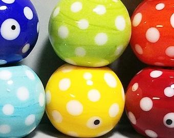 Simply Spotty Rainbow Balls --Handmade Lampwork Glass Bead Disc