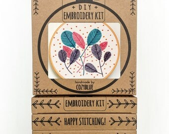 FREE FALL embroidery kit - embroidery hoop art, DIY stitching kit, confetti and balloons, leaves and dots, colorful posy, leaf bouquet