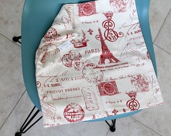 """Paris throw pillow Cover, Invisible zipper, closure, Red Canvas. 18"""" square Home decor, cushion, white red Eiffel tower, baby nursery"""