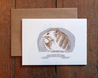 Pika linocut letterpress blank card