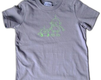 50% OFF Robot Graphic Tee for Kids - Robot Toddler Tee, grey t-shirt - size 2T - size 4T, shirt for big brother, big brother shirt, shirt fo