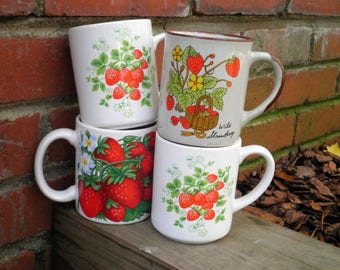 Vintage Strawberry Coffee Cups / Mugs - Retro Wild Berry Ceramic + Stoneware Mixed Mug / Cup Collection - 1970s - 80s Farmhouse Fruit Gift
