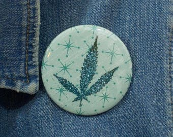 Turquoise Glitter Pressed Cannabis Leaf Button
