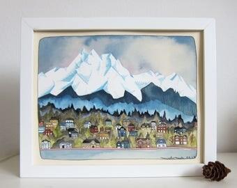 Art - Original Art - Olympic Mountains Art - Pacific Northwest Art - Illustration - Painting - Seattle Art - The Olympic Mountians