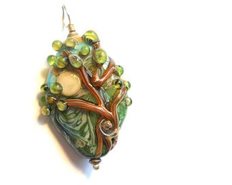 Lampwork glass tree bead pendant, 'High Winds' necklace, full moon organic focal glass orphan bead, glassbead, green & brown tree