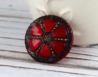 Large, Cranberry Red and Black window Czech glass button, jewelry, embellishment, knitting, crocheting, sewing - 27mm - 1 pc - GBN310
