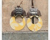 Mixed Media Tin and Button Owl Earrings