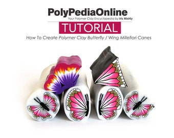 Polymer Clay Tutorial, Polymer Clay, Butterfly, Millefiori cane, Polymer Clay Cane, Fimo Bead, DIY Handmade Bead, Step by Step, PDF Tutorial