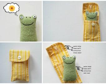Green Frog Cuff Critter - Tiny Plushie - Stocking Stuffer - Tween Kid Gift - Plush - Upcycled - Pocket Travel Size - Mini Pet