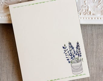 handmade notepad - Texas bluebonnets - small notepad - to do list - doodle pad - gifts under 10 - note pad - wildflower notepad - idea pad