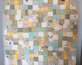 ready to ship--farmhouse baby quilt - yelliw and robins egg