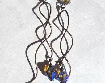 Sterling Iridescent Purple Swarovski Waterfall Twist Earrings