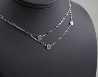 Asymmetrical Double Layered Initial Necklace, Three Petite Discs, Sterling silver
