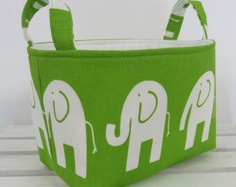 Storage and Organization Fabric Organizer Bin Container Basket - Ele Elephant - White on Green - Nursery Decor - Baby Room Decor