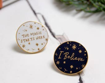 The Pair Of Pins - I Believe Enamel Lapel Pin - The Magic Starts Here Pin Badge - Gold Enamel Pin - Christmas Stocking Filler