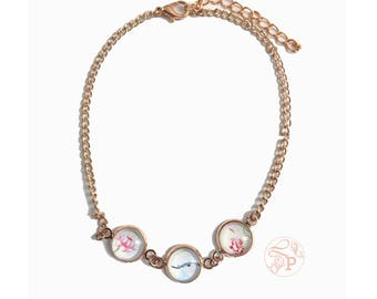 rose gold bluebird anklet jewellery / vintage inspired floral rose gold jewellery / pale green shabby chic style rose gold jewellery