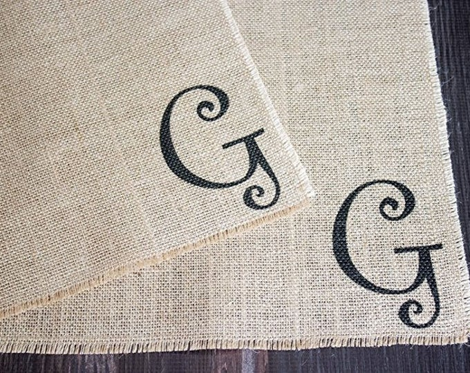 Featured listing image: Monogrammed burlap placemats for farmhouse style cottage chic home decor with a fun whimsical font  set of two personalized custom order