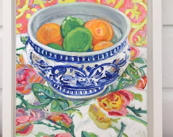 Clementines and Limes colorful mixed media still life painting by Polly Jones