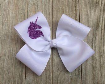 Unicorn Hair Bow,Purple Sparkle Unicorn Bow,Unicorn Birthday Party,5-5.5 Inches Wide,Alligator Clip,Birthday Party Favor