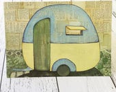 Caravan Campervan Travelling Paper Postcard Post Card Mail Postage Gift Explore The World Sleeping Retro Vintage Escape Acrylic Painting