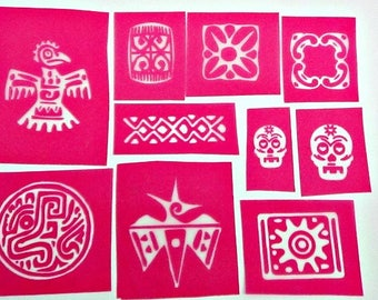 9 Tribal  Silkscreen sampler kit for polymer clay, paper, fabric, glass, metal and more