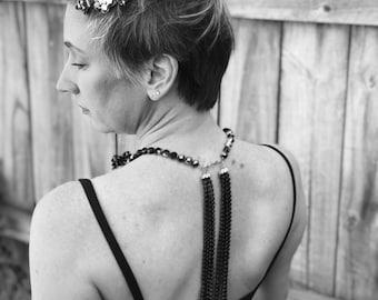 Backless Dress Necklace, Black Back Drama Necklace, Vintage Assemblage Necklace, Evening Jewelry,