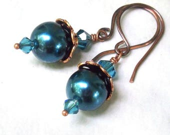 Antique Copper Teal Pearl Drop Earrings, Swarovski Crystal and Glass Pearls - Choice of Handmade Hook or Leverback Earwires