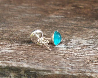 Recycled Vintage Aquamarine Mason Jar Sterling Silver Post Earrings/Recycled Upcycled Repurposed/Gift for Her/Antique Glass