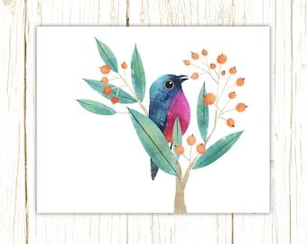 Rose-Bellied Bunting Print -- bird art -- colorful bird art by stephanie fizer coleman illustration