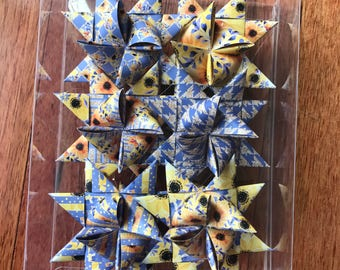 Moravian Paper Star Ornaments ~Summer Glitter Flowers (3 inch)