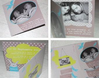 Twin birth announcement - unique creation