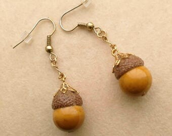 Unique Light Brown Acorn Earrings, 12 mm Jasper Acorn, Golden Acorn Bail, Natural Acorn Cap- Pretty Acorn Earrings by enchantedbeads on Etsy