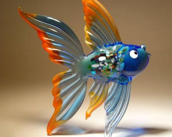 Handmade Blown Glass Art Figurine Blue Exotic Fish with Red Trim