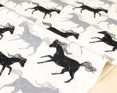 Cotton + Steel Magic Forest - unicorns noir - fat quarter