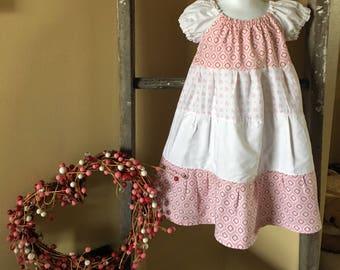Peasant Style Pink Valentine Tiered  girls dress.
