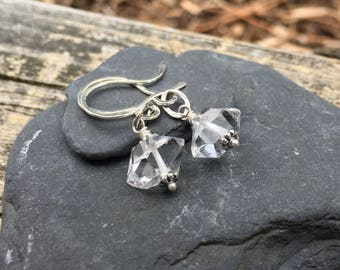 Herkimer Diamond Earrings, Sterling Silver, Genuine Gemstone, Dangle, Double Terminated Crystal, Clear Quartz, Natural Stone, Herkimer NY