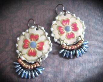 Tin Earrings. Bohemian Gypsy Dangle Earrings. Flower Bohemian Jewelry. Frida Kahlo Inspired