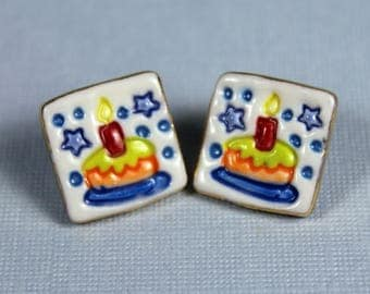 Birthday Cake Porcelain Ceramic Clay Earrings