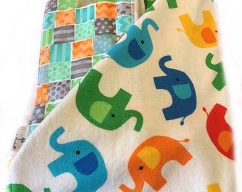 Newborn Gift Set - Elephant Toss Receiving Blanket/Burp Cloths