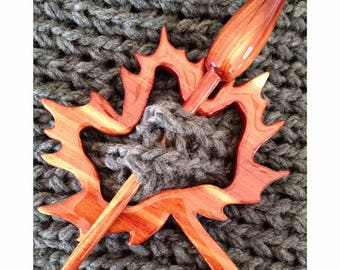 Handcrafted Wood Shawl Pin Set, Maple Leaf, Scarf Pin, Brooch, Sustainable, Made in America
