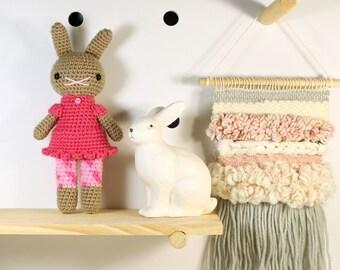 zelda .. stuffed plushie rabbit doll, bunny girl toy, crochet amigurumi animal