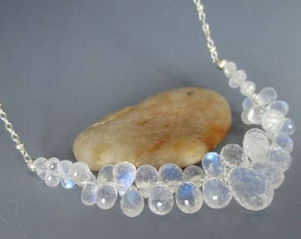 Rainbow Moonstone Teardrops Sterling Silver Necklace