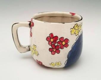 Handmade Ceramic Mug Porcelain Mug Floral Pattern Pottery Cup 10 oz mug