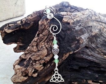 ON SALE Ear Cuff Peridot Triquetra 2 in 1 Dangle - No Piercing - Single or Pair