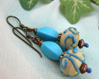 Turquoise Blue Earrings ~ Turquoise and Coppper Earrings ~ Turquoise Glass Earrings ~ Glass Bead Earrings ~ Lampwork Glass Earrings