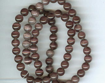Brown Catseye Spacers, 6mm Brown Cats Eye Fiber Optic Round Spacer Beads Catseye Bead