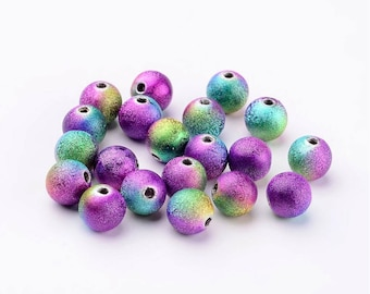 Colorful Stardust Beads 6mm Purple Green Gold Plated Stardust Round Spacer Beads Set of 100 Bead Spacers